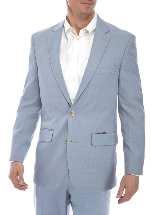 Mens Light Blue Plaid Suit Separate Coat