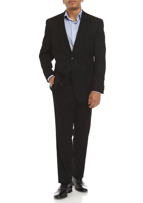 MICHAEL Michael Kors Mens Black Tonal Stripe Suit