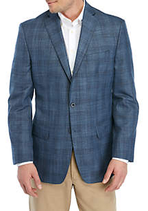 MICHAEL Michael Kors Blue and Brown Plaid Sportcoat