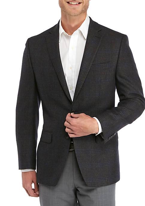 MICHAEL Michael Kors Charcoal Brown Plaid Sport Coat