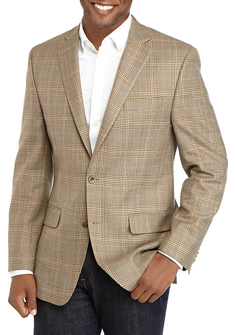 Tan Plaid with Blue Accent Sport Coat