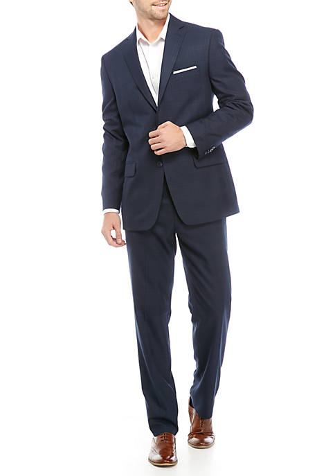 Mens Navy Plaid Suit