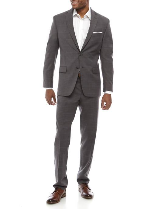 Gray Plaid Blue Deco Suit