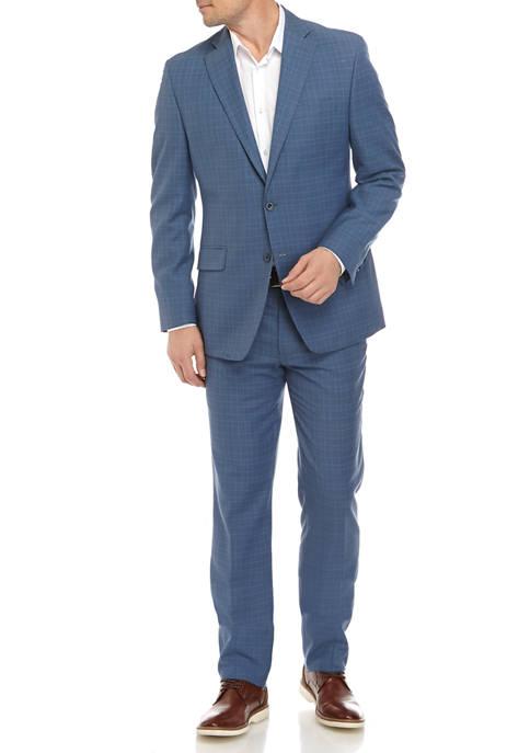 Mens Light Blue Plaid Suit