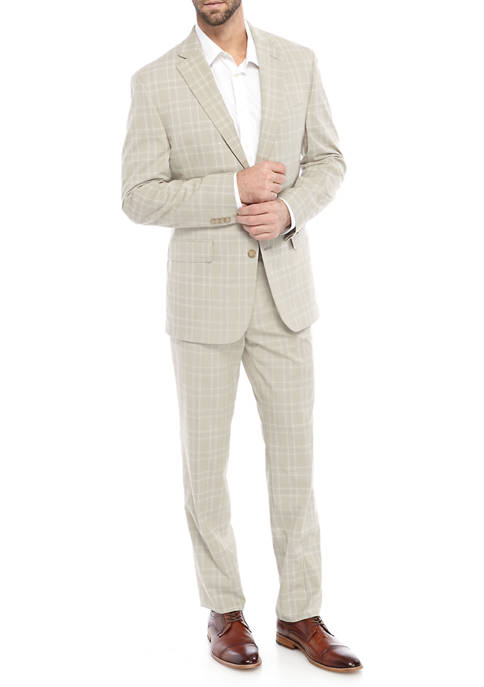 Mens Tan Plaid Suit