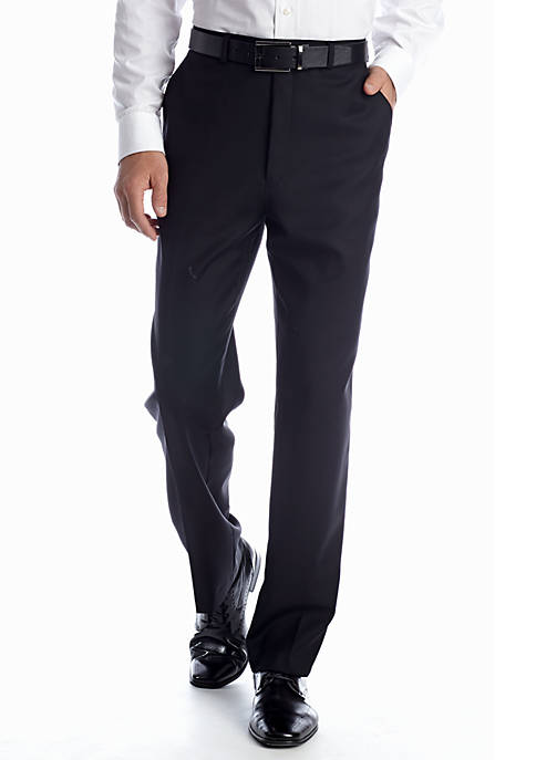 Classic Fit Black Solid Suit Separate  Pants