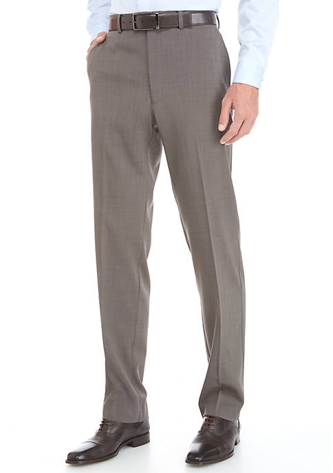 MICHAEL Michael Kors Brown Stretch Flat Front Pants