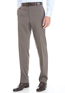 Brown Stretch Flat Front Pants