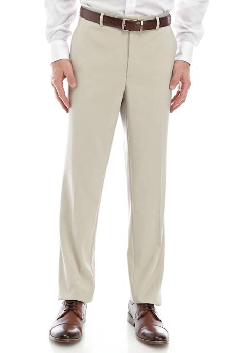Tan Solid Dress Pants