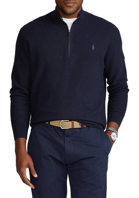 Big & Tall Cotton Quarter-Zip Sweater