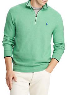 Cotton Mesh Half-Zip Sweater