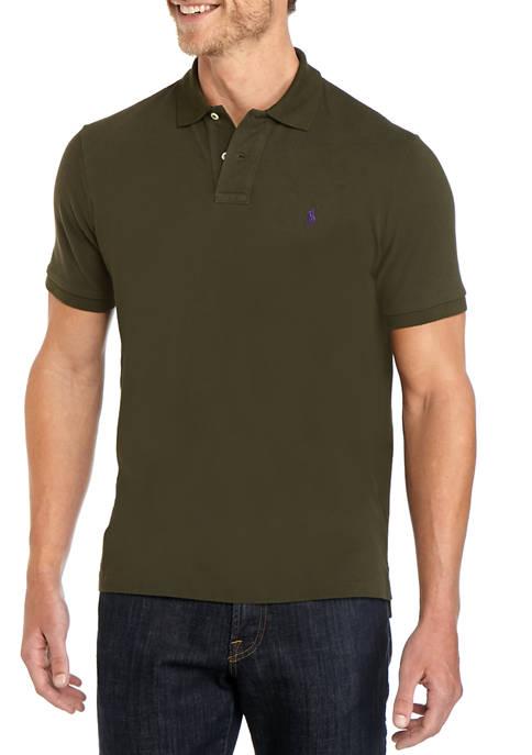 Mens Basic Mesh Short Sleeve Knit Polo Shirt