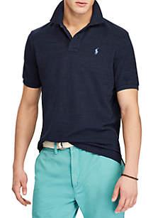 Short Sleeve Solid Custom Slim Navy Heather Polo