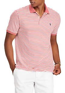 Pima Short Sleeve Stripe Polo Knit Shirt