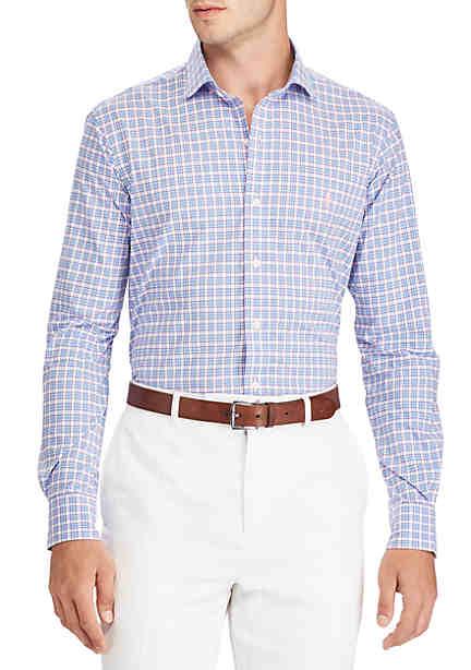 Polo Ralph Lauren Slim Fit Poplin Long Sleeve Sport Shirt Powder Blue/Petal  Multi ...