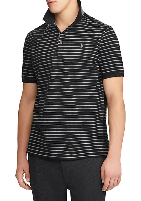 Polo Ralph Lauren Short Sleeve Solid Mesh Striped Polo free shipping