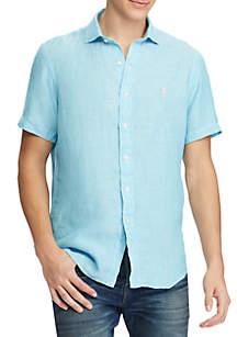 Short Sleeve Linen Polo Shirt