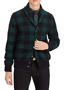 Checked Wool-Blend Cardigan