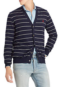 Striped Cotton V-Neck Cardigan