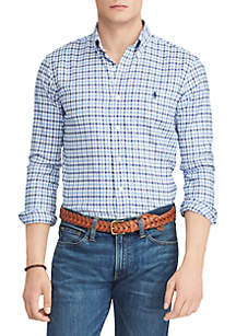 Classic Fit Plaid Performance Oxford Shirt