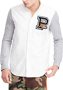 Classic Fit Jersey-Sleeve Oxford Shirt