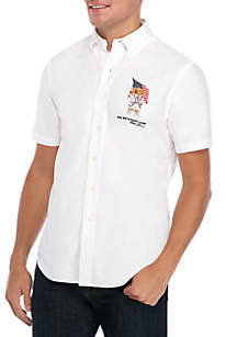 Polo Ralph Lauren White Bear Flag Oxford Shirt