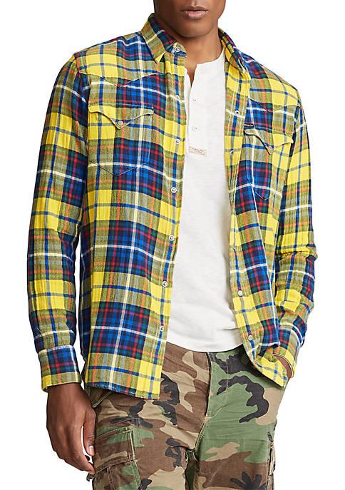 Plaid Twill Western Shirt
