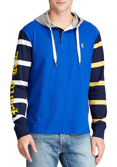 Color Blocked Hooded Rugby Shirt