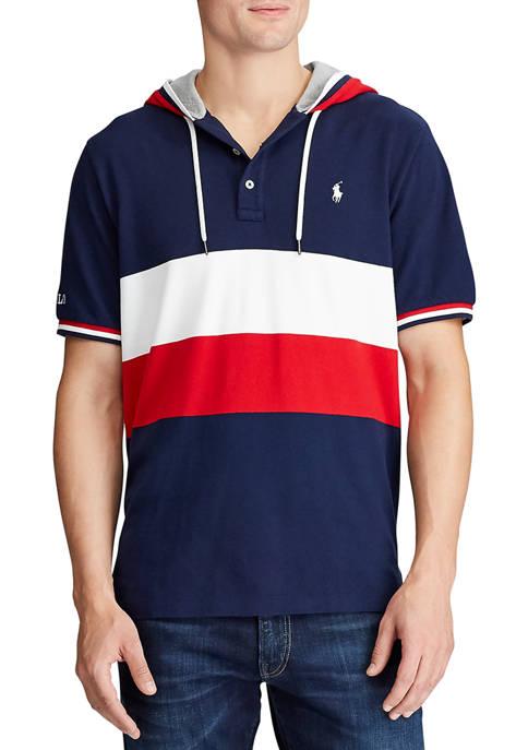 Color-Blocked Mesh Hooded Shirt