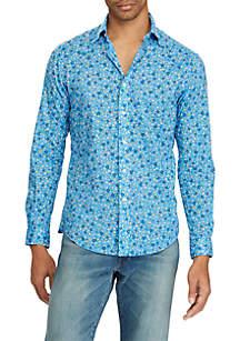 Long Sleeve Stretch Poplin Floral Print Shirt