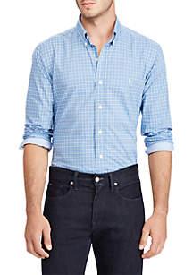 Big & Tall Long Sleeve Stretch Poplin Plaid Shirt