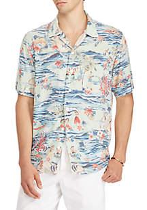 Big & Tall Printed Camp Short Sleeve Sport Shirt