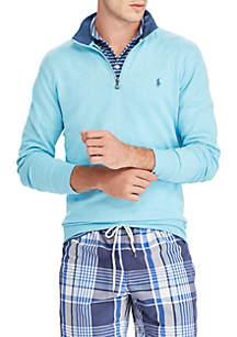 Big & Tall Long Sleeve Double Knit Jersey Half Zip Sweatshirt