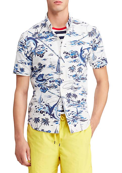 Big & Tall Classic Fit Marlin Print Shirt