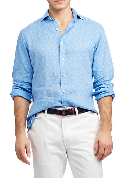 Big & Tall Classic Fit Anchor Linen Shirt
