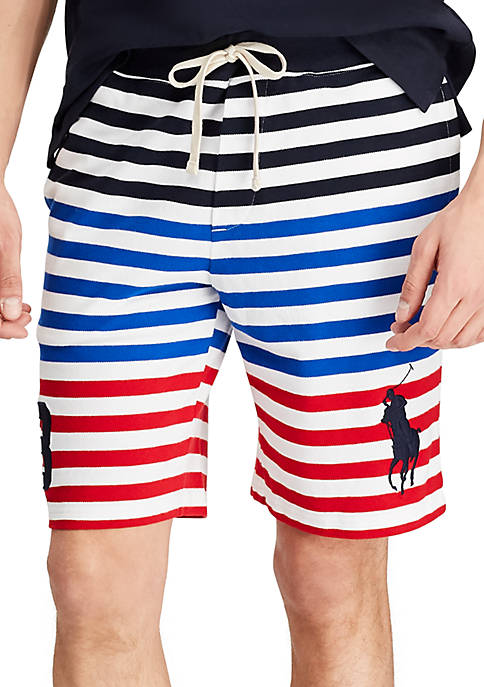 Big & Tall Striped Big Pony Mesh Shorts