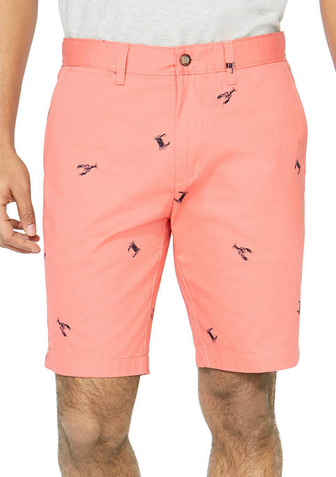 Nautica Slim Fit Crab and Lobster Print Shorts