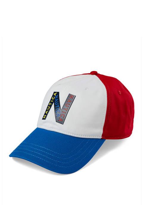 Nautica Mens Color Block Logo Six Panel Baseball