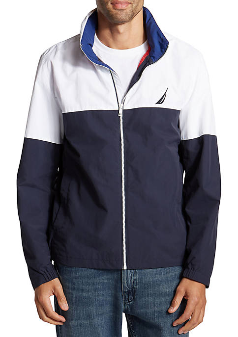 Lightweight Full-Zip Colorblock Bomber Jacket