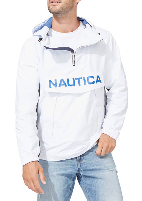 Nautica Mens Lightweight Color Block Hooded Pullover