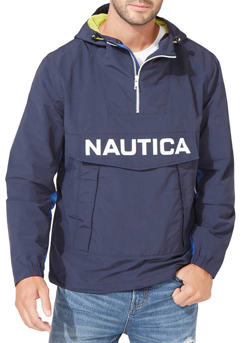 Nautica Lightweight Color Block Hooded Pullover