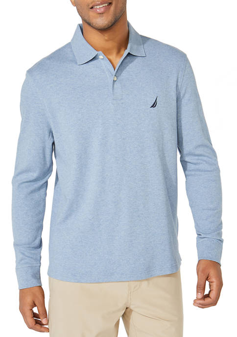 Nautica Classic Fit Long Sleeve Solid Interlock Polo