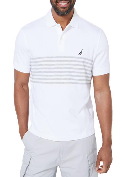Nautica Classic Fit Chest Stripe Interlock Polo Shirt