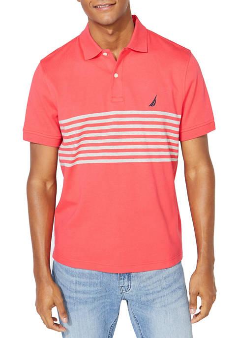 Classic Fit Chest Stripe Interlock Polo Shirt
