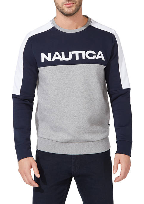 Nautica Color Block Crew Neck Sweatshirt