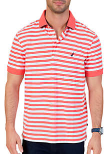 Classic Fit Striped Performance Deck Polo Shirt