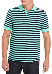 Classic Fit Striped Performance Polo Shirt