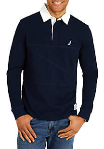 Classic Fit Long Sleeve Pieced Woven Collar Shipman Polo