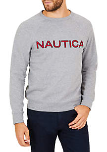 Long Sleeve Fleece Graphic Crew Neck Pullover