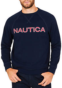 Long Sleeve Fleece Graphic Crew Neck Pullover
